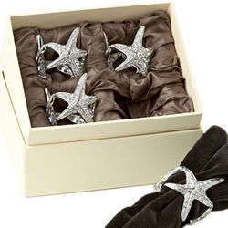 Platinum Starfish Napkin Rings