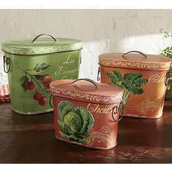 Set of 3 French Country Tins