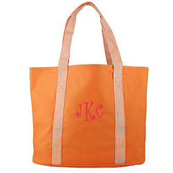 Personalized Striped Handles Orange Tote