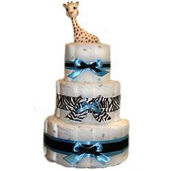 Boy's Zebra Organic Diaper Cake