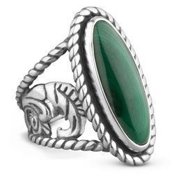 American West Malachite Elongated Sterling Ring