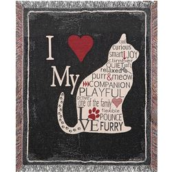 I Heart My Cat Throw Blanket