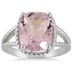 4.95 Carat Cushion Cut Pink Amethyst Ring