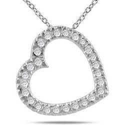 Diamond Slide Heart Necklace in 14K White Gold