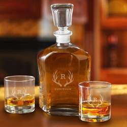 Antler Monogram Decanter Set with 2 Low Ball Glasses