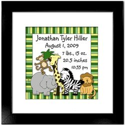 Personalized Zoo Animals 12x12 Birth Announcement Framed Print