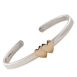 Child's Double Heart Cuff Bracelet In Sterling Silver