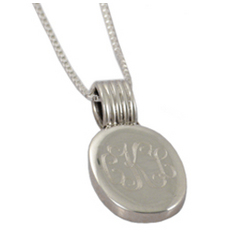 Monogrammed Oval Engraved Sterling Silver Pendant Necklace