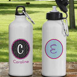 Polka Dot Monogram Personalized Aluminum Water Bottle