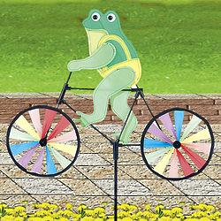 Frog on a Bike Wind Spinner