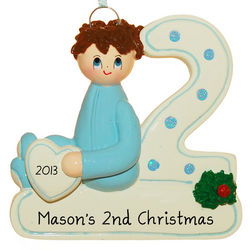 Personalized 2nd Christmas Boy Ornament