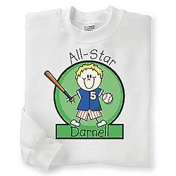 Youth's Personalized Baseball Sweatshirt