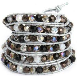 Jeweled Silver 5-Row Wrap Bracelet