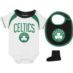 Boston Celtics Newborn Baby Creeper, Bib and Booties
