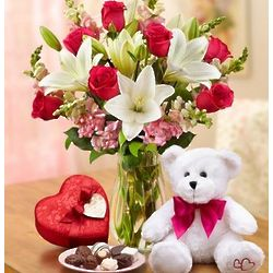 Gallant Love Floral Bouquet with Bear and Chocolate