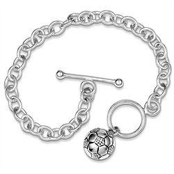 Sterling Silver Soccer Ball Charm Bracelet