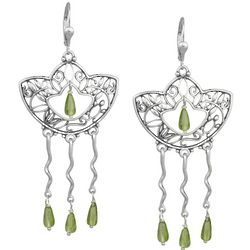 Silver Water Lily Peridot Earrings