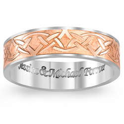 Men's Titanium and Rose Gold Celtic Knot Engraved Message Band