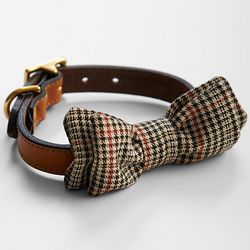 Best In Park Tweed Bow Tie Dog Collar