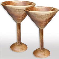 Acacia Wood Martini Glasses Set
