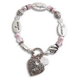 Personalized Daughter Sentiment Beaded Bracelet