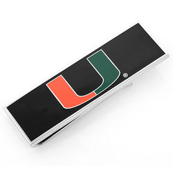 University of Miami Hurricanes Rhodium Plated Money Clip