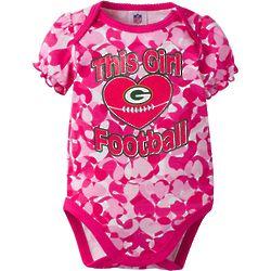 Baby Girl's Green Bay Packers Heart Bodysuit in Pink