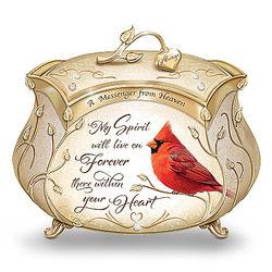 A Messenger from Heaven Cardinal Heirloom Porcelain Music Box