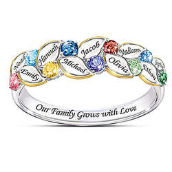 Our Family of Joy Women's Birthstone Ring with Personalized Names