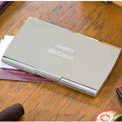 Personalized Silver Plated Smooth Business Card Case