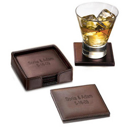 Square Leather Coasters Set