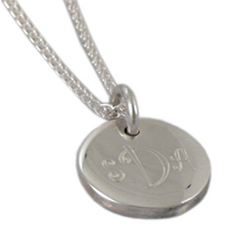 Monogrammed Petite Round Sterling Silver Pendant and Chain