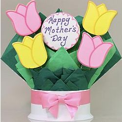 Mother's Day Tulips Cookie Bouquet with 5 Cookies