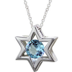 14K White Gold Star of David with Blue Topaz Pendant