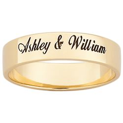 18K Gold Over Sterling Flat Top Engraved Band