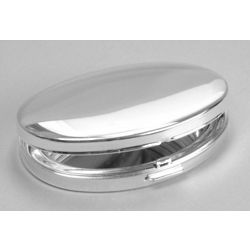 Engraved Silver Plated Oval Hinged Compact Mirror