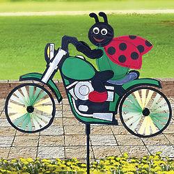 Ladybug on Motorcycle Wind Spinner