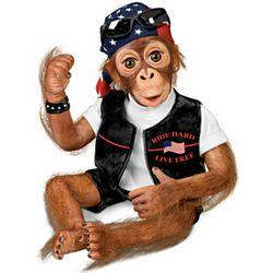 Ride Hard, Live Free Biker Monkey Doll