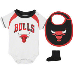 Chicago Bulls Baby Creeper, Bib and Booties