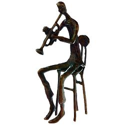 Brass Trumpet Player Figurine