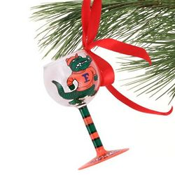 Florida Gators Hand-Painted Mini Wine Glass Christmas Ornament