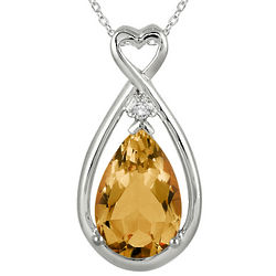 Natural Citrine and Genuine Diamond Pendant