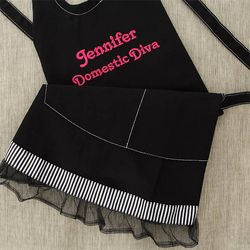 You Name It Embroidered Ruffle Apron