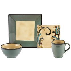 Square Blue Leaves 16-Piece Dinnerware Set