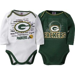 2 Green Bay Packers Long-Sleeve Bodysuits for Babies