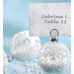 Snow Flurry Flocked Glass Ornament Place Cards/Photo Holders