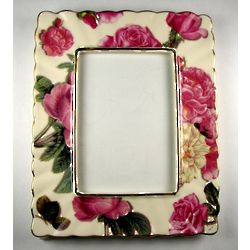 Romantic Rose Porcelain Floral Photo Frame with Gold Accents