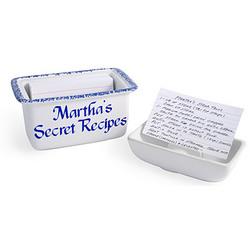 Personalized Blue Recipe Box