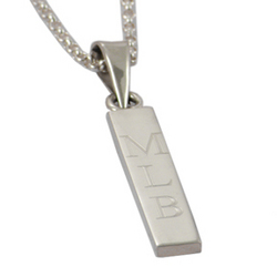 Engraved Monogram ID Pendant on a Silver Chain