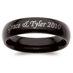 Men's Black Tungsten Top Engraved Message Band